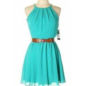 BCX teal pleated dress.  Sz. Lrg